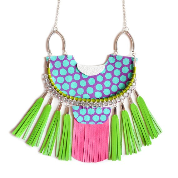boo and boo factory - tribal lime necklace with polka dots