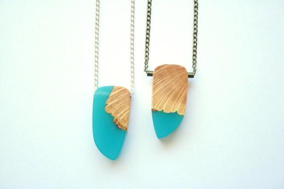 britta boeckmann - pendants in teal blue resin wood
