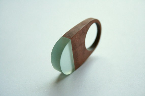 britta boeckmann - ring - wood with light blue resin