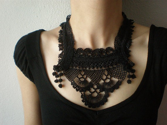 irregular expressions - black lace scales - bib necklace
