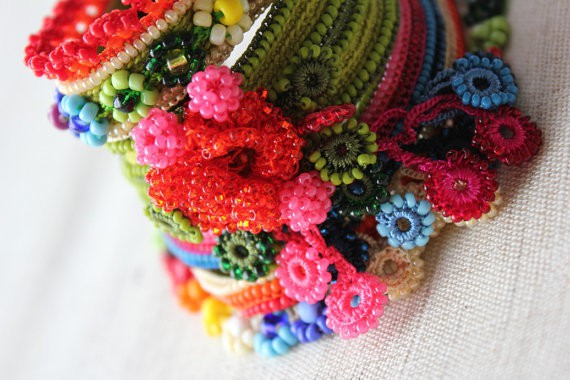irregular expressions - mirbelia speciosa - crochet beaded cuff