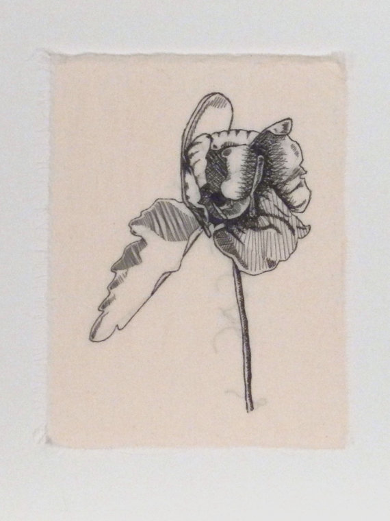 kelly darke - stitched sketch of a peony
