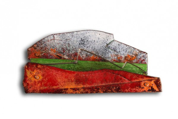 montserrat lacomba - catalonia - brooch - enamelled and oxidised copper, silver