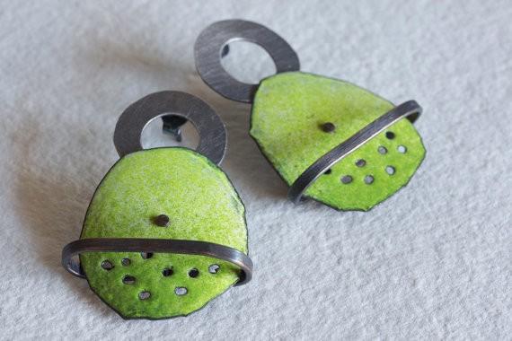 montserrat lacomba - impossible earrings no3 - copper enamel silver