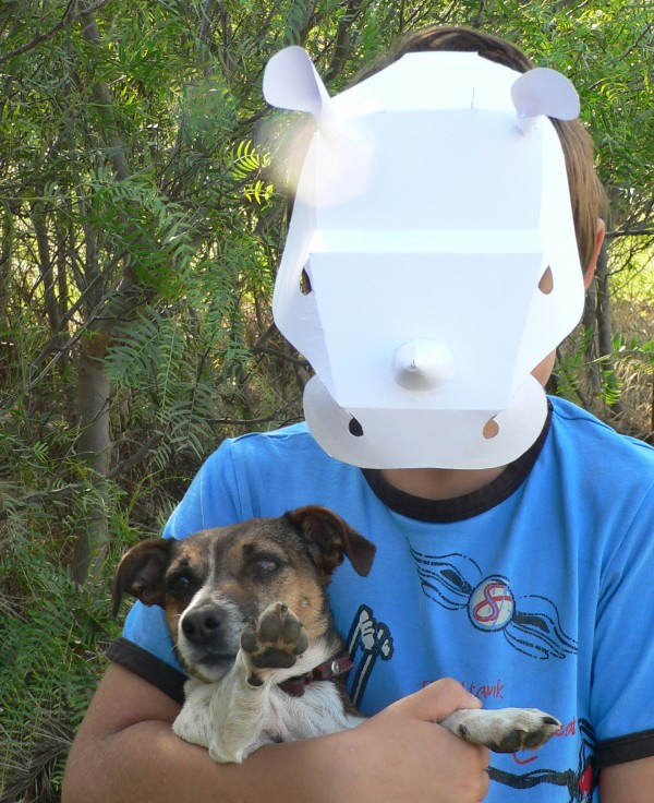 plain rhino mask with tom and daisy