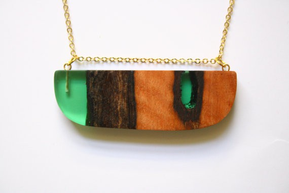 britta boeckmann - wide green pendant with redgum