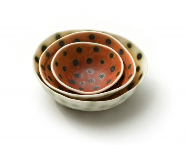 sandra bowkett - bharni and copper spot dishes