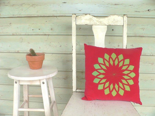 tractorgirl - red green spiral star cushion
