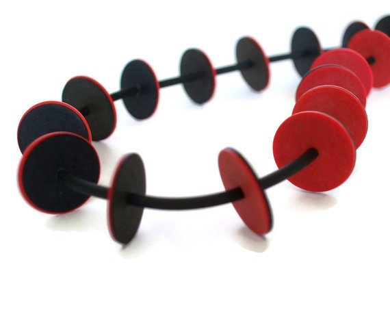 frank ideas - red and black necklace