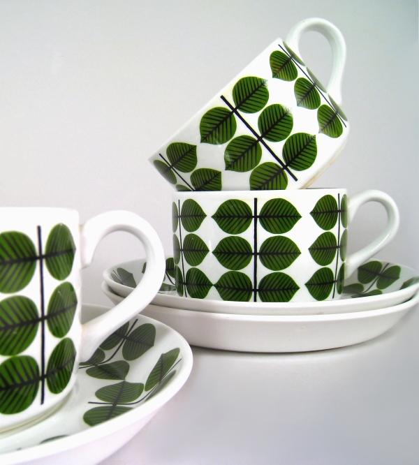 Stig Lindberg - cups and saucers - Bersa