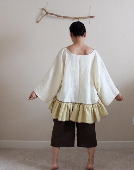 anny schoo - linen lagenlook ruffle blouse