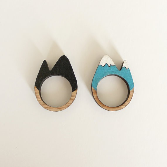 whimsymilieu - snowy mountain wooden rings