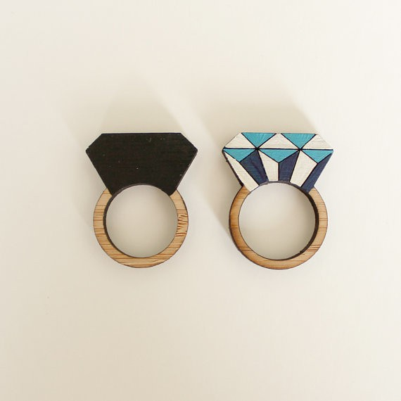 whimsymilieu - wooden diamond rings