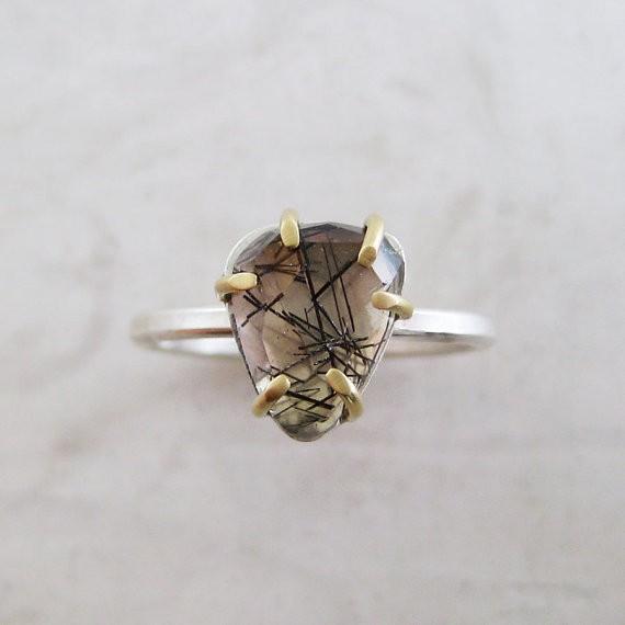 meanderworks - tourmalinated quartz ring