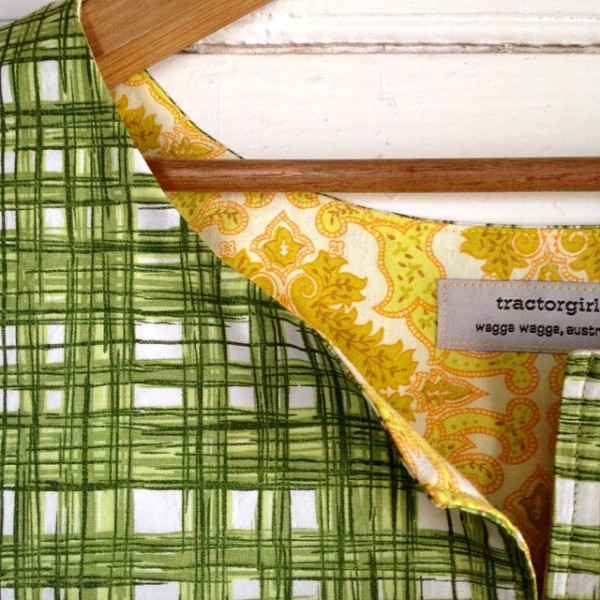 green plaid top - detail