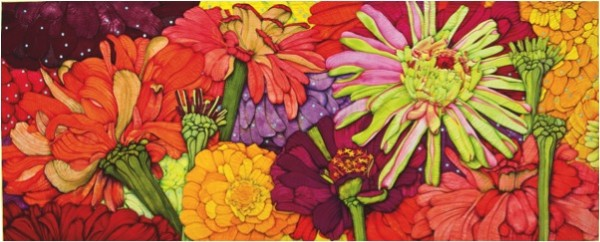 velda newman - zinnia quilt - 8ft x 18ft, paint and ink on cotton sateen